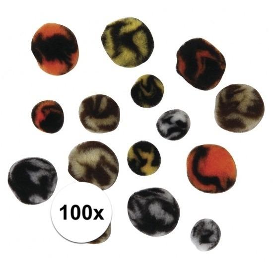 100x knutsel pompons dieren print