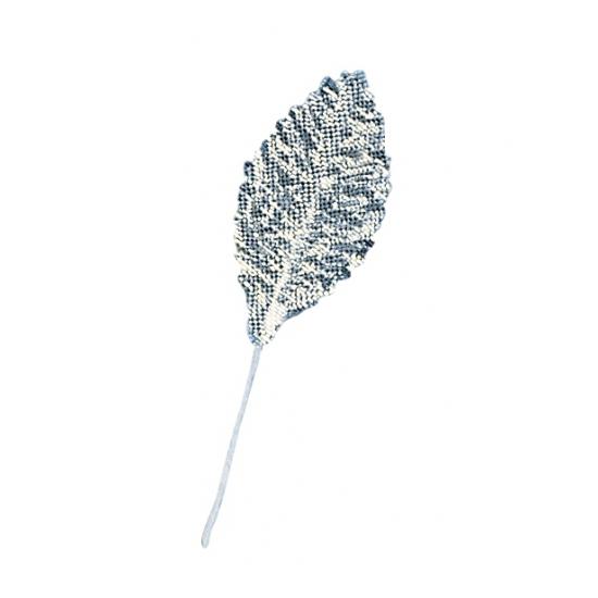 12 stuks decoratie bladeren zilver