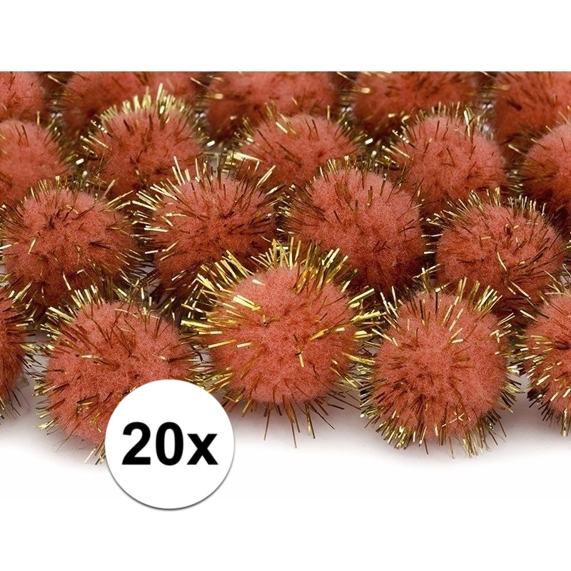 20x oranje knutsel pompons 20 mm