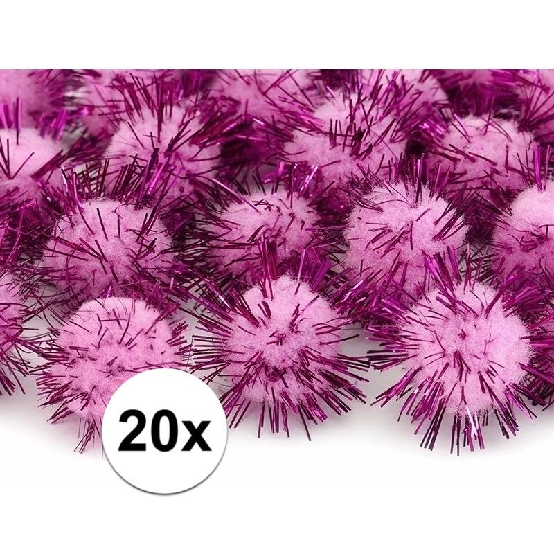 20x roze knutsel pompons 20 mm