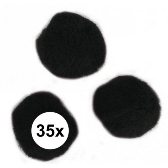 35x knutsel pompons 25 mm zwart