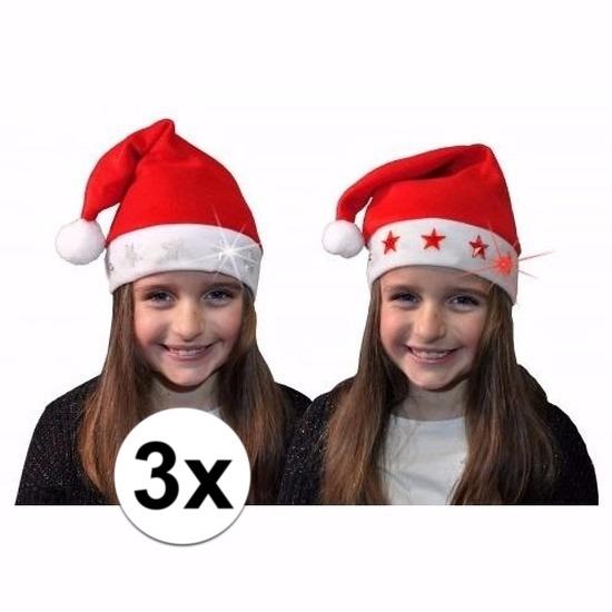 3x Kerstmuts met witte sterren en lichtjes voor kinderen