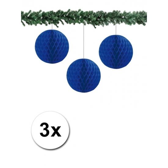 3x decoratie bal blauw 10 cm