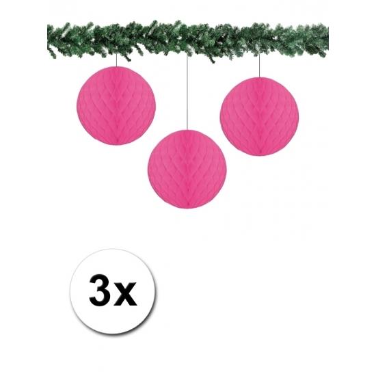 3x decoratie bal fuchsia 10 cm