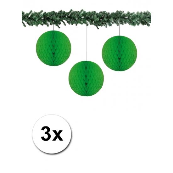 3x decoratie bal groen 10 cm