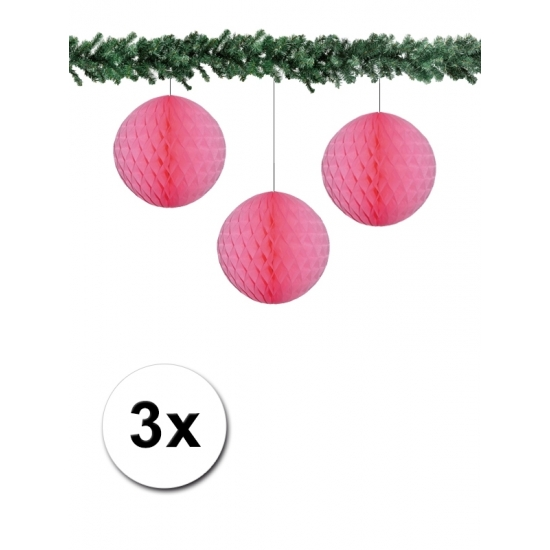 3x decoratie bal lichtroze 10 cm