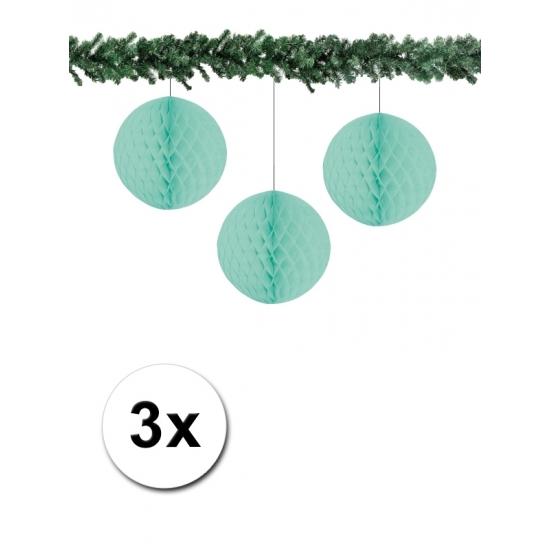 3x decoratie bal mint 10 cm
