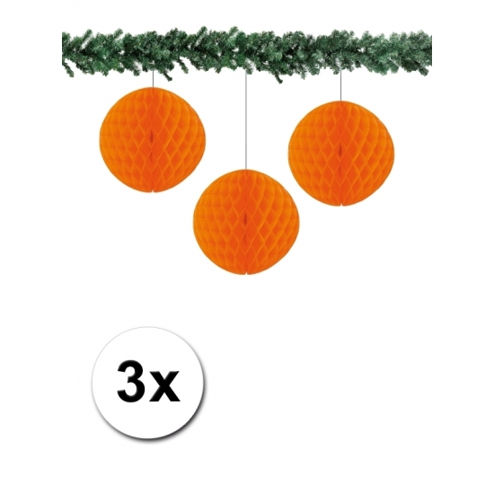 3x decoratie bal oranje 10 cm