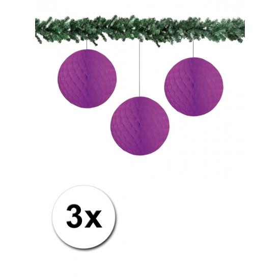 3x decoratie bal paars 10 cm