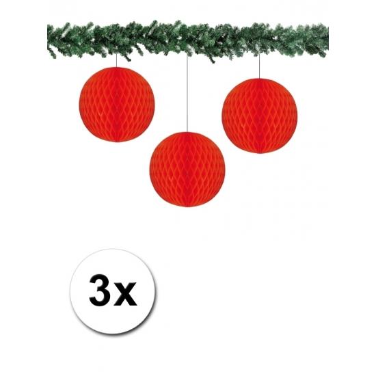 3x decoratie bal rood 10 cm