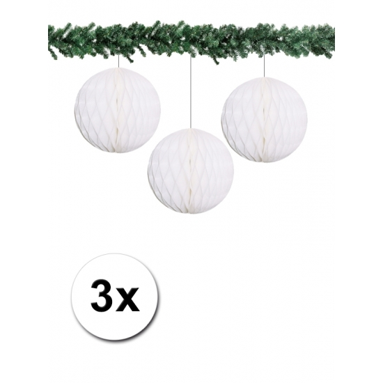 3x decoratie bal wit 10 cm
