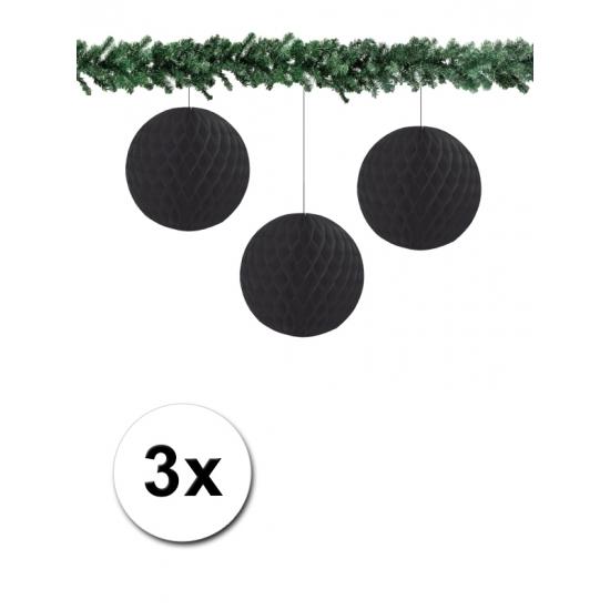 3x decoratie bal zwart 10 cm
