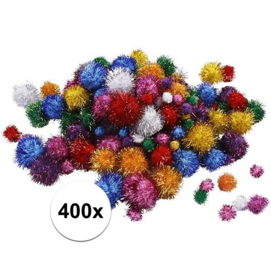 400x knutsel glitter pompons assorti
