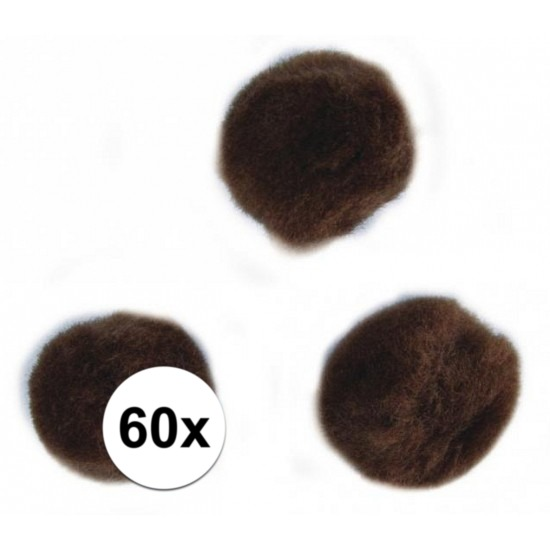 60x knutsel pompons 15 mm bruin