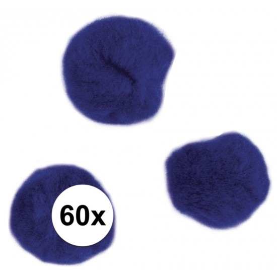 60x knutsel pompons 15 mm donkerblauw