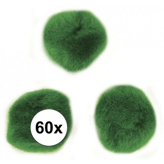 60x knutsel pompons 15 mm groen