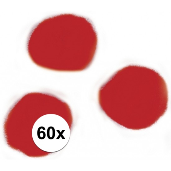 60x knutsel pompons 15 mm rood