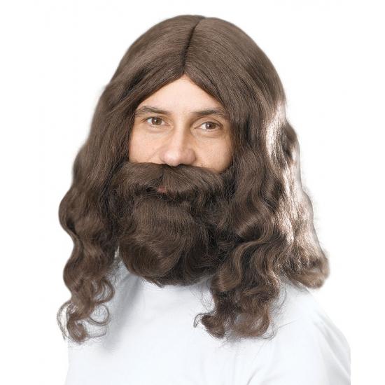 Bruine Jezus pruik en baard