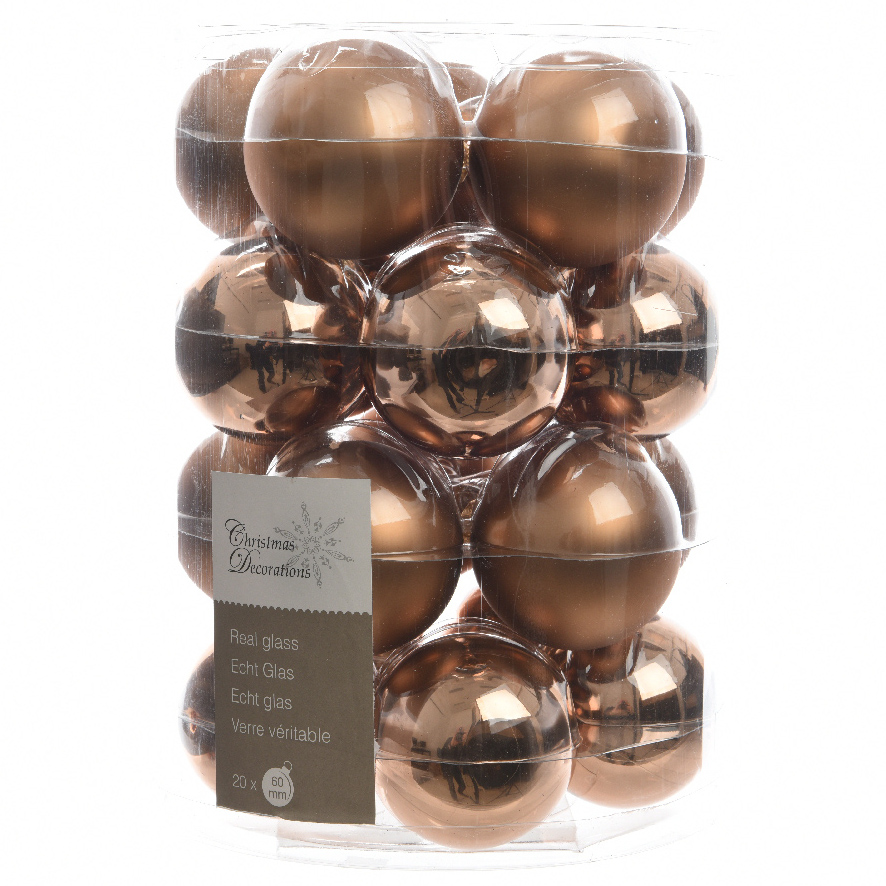 Glas Kerstballen (60mm) Box 20 Stuks Glans Mat Suède Brown | 8718532265874