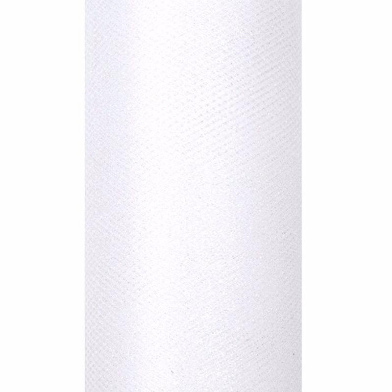 Glitter tule stof wit 15 cm breed