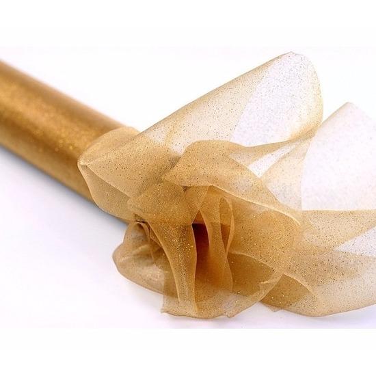 Gouden organza stof met glitters 36 cm breed