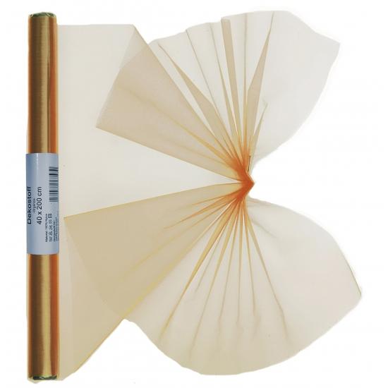 Gouden organza stof op rol 40 x 200 cm