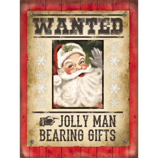 Grote muurplaat Wanted Kerstman 30x40cm