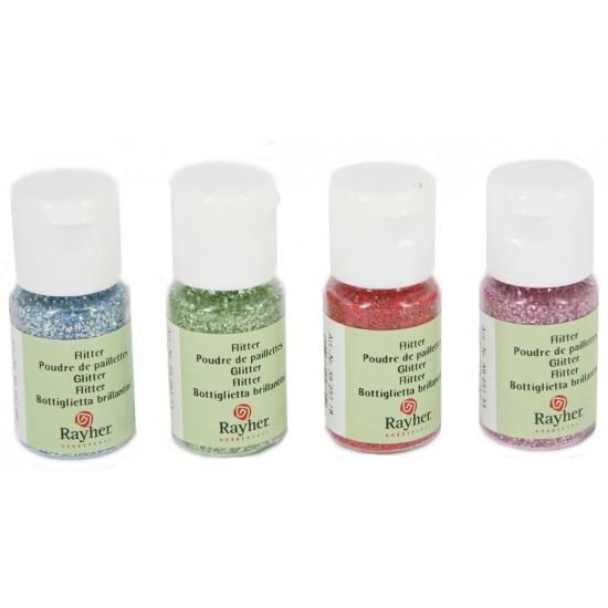 Hobby materiaal glitterflesje rood 10 ml