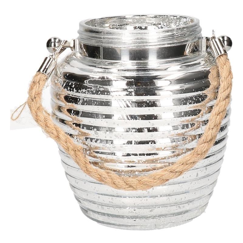 Home deco windlicht lantaarn zilver 16 cm