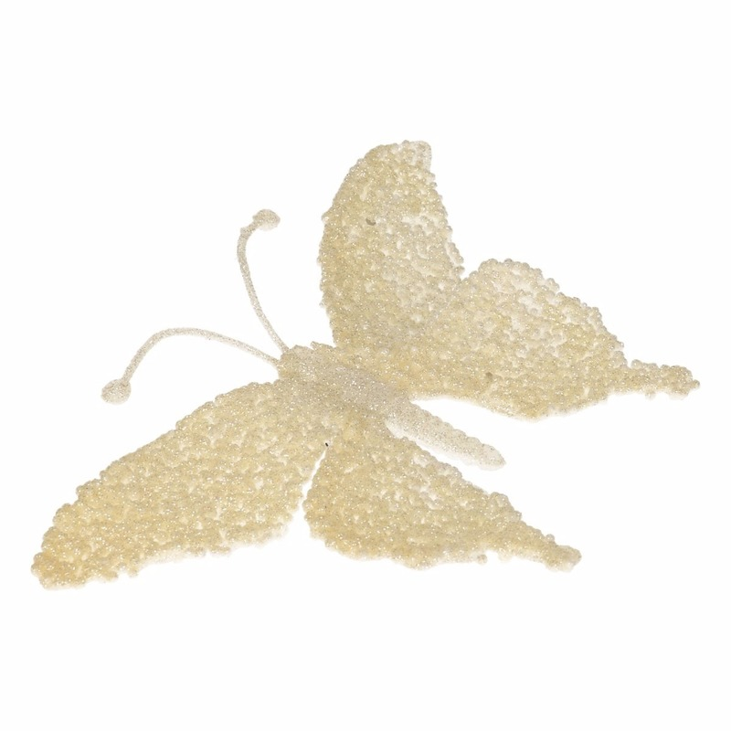 Kerst decoratie vlinder creme glitter
