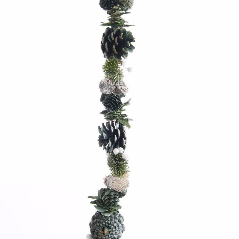 Kerst dennenappel slinger groen/wit 150 cm