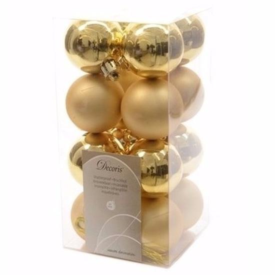 Kerst kerstballen goud mix 4 cm Sweet Christmas 16 stuks