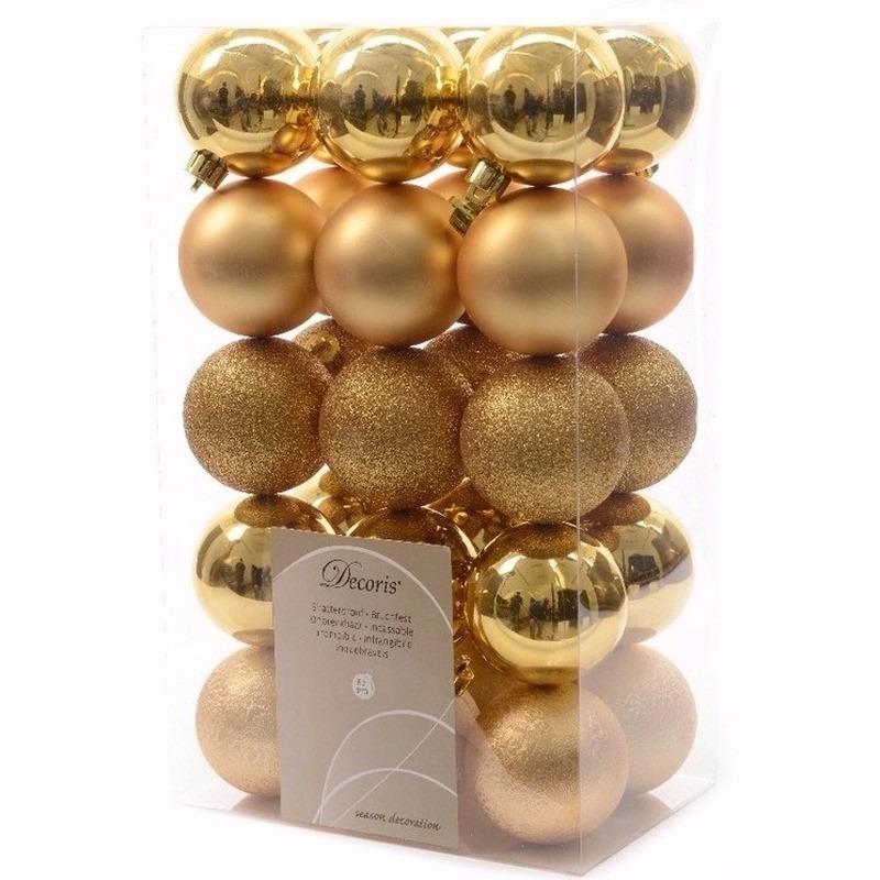 Kerst kerstballen goud mix 6 cm Sweet Christmas 30 stuks