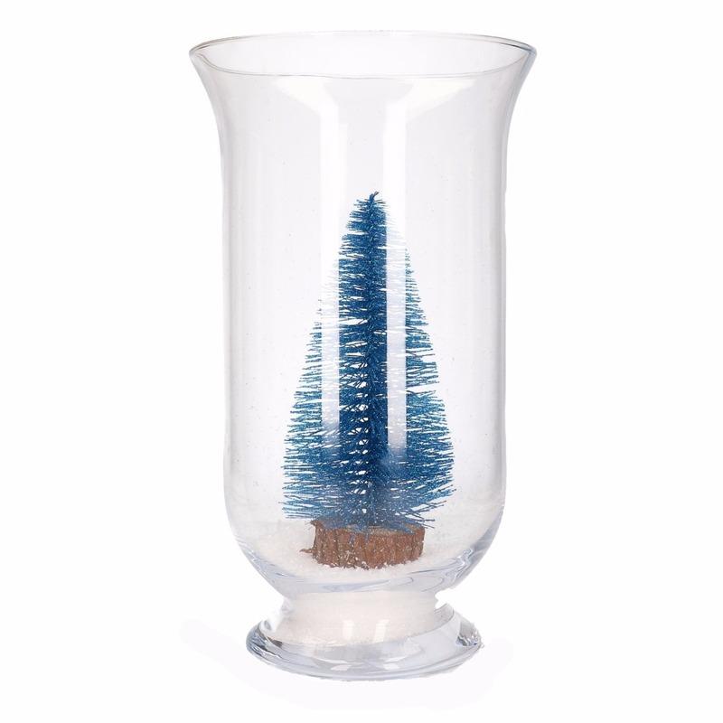 Kerst woondecoratie vaas met glitter boompje blauw
