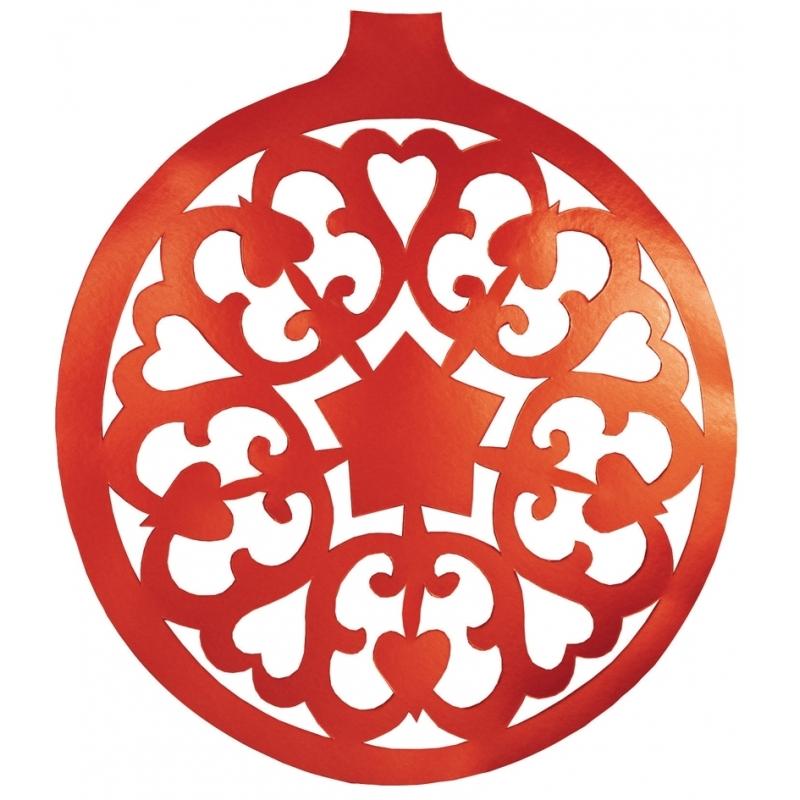 Kerstbal hangdecoratie rood 32 cm