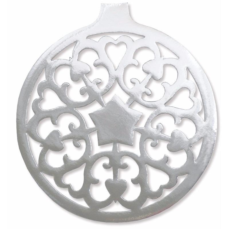 Kerstbal hangdecoratie zilver 32 cm