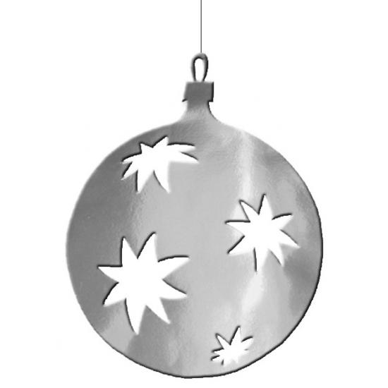 Kerstballen hangdecoratie zilver 40 cm