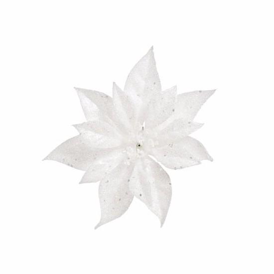 Kerstboom decoratie bloem wit 18 cm