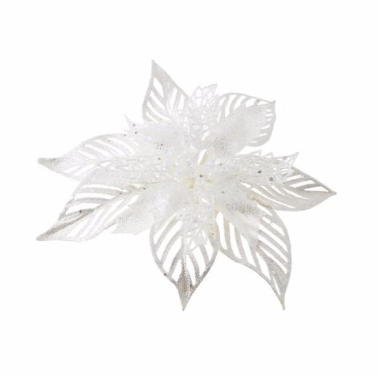 Kerstboom decoratie bloem wit 23 cm