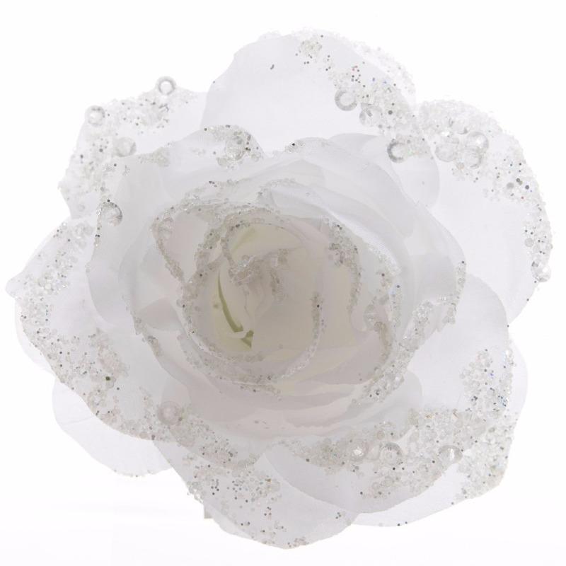 Kerstboom decoratie roos bloem winter wit 14 cm