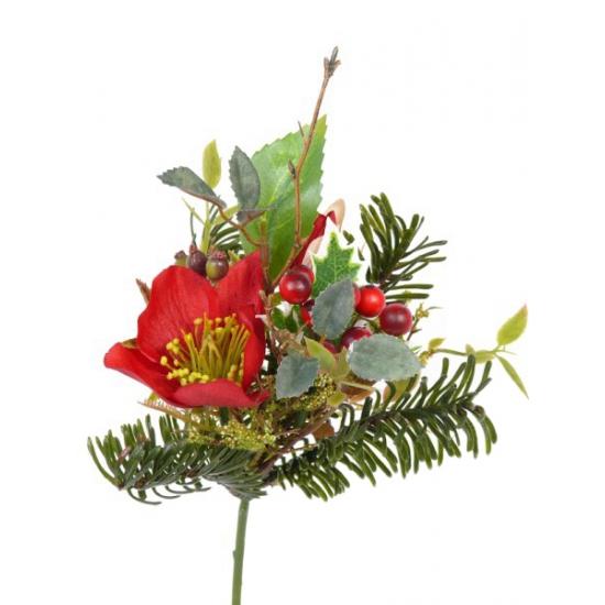 Kerststuk instekertje rood 17 cm