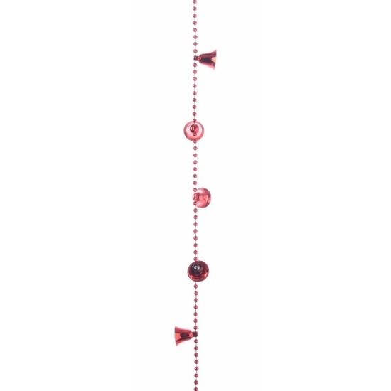 Kerstversiering kralenslinger rood met bellen 270 cm
