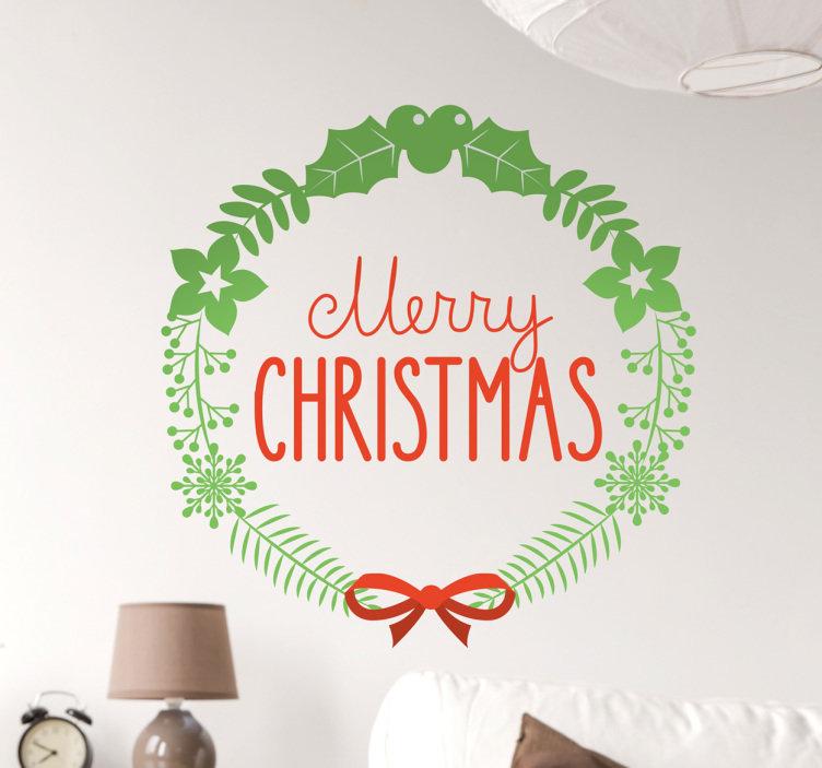 Muursticker Krans Merry Christmas