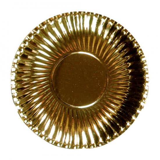 Platte kartonnen bordjes metallic goud 23 cm