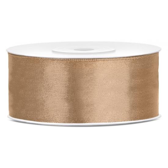 Satijn sierlint goud 25 mm