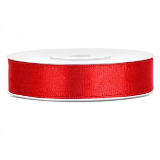 Satijn sierlint rood 12 mm