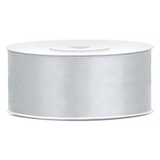 Satijn sierlint zilver 25 mm