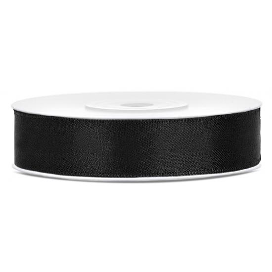 Satijn sierlint zwart 12 mm