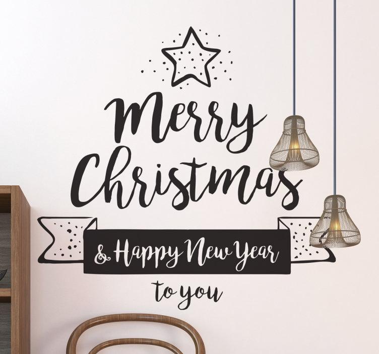 Sticker merry christmas happy new year
