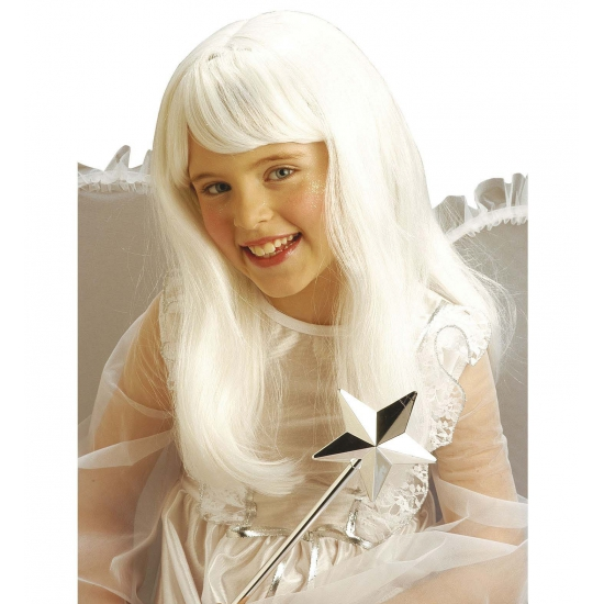Witte engelen pruik voor meisjes